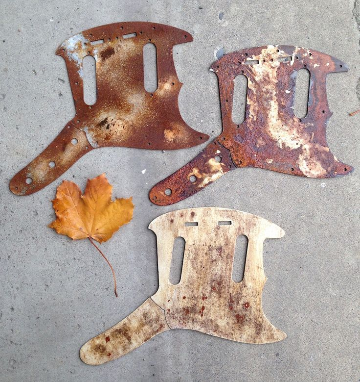 3 handmade Mustang guitar pickguards from recycled metal
