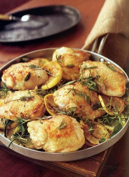 Chicken Thighs Baked with Lemon, Sage, Rosemary and Thyme