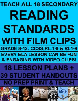 Teach EVERY reading literature and reading informational text common core state standard with videos (Grades 9-12)! Common Core ELA Test Prep is FUN with VIDEO CLIP ACTIVITIES! Use videos to teach inferencing! Use pixar shorts to teach main idea, plot characterization! Use spoken word  and speeches to teach theme! An entire year of high school english curriculum. NO PREP secondary text bundle for reading literature and informational text standards #videostoteachinferencing