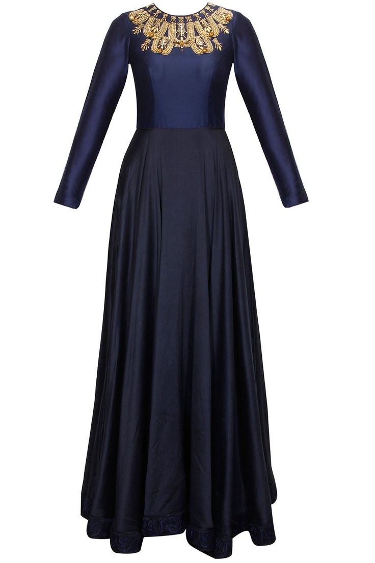 Midnight blue embroidered anarkali set available only at Pernia's Pop-Up Shop