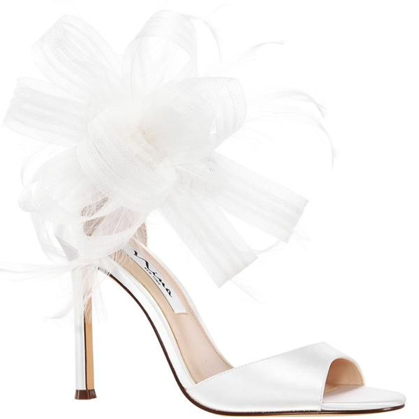 Dalila White Satin In 2021 Feather Shoes Bridal Shoes Wedding Shoes Bow