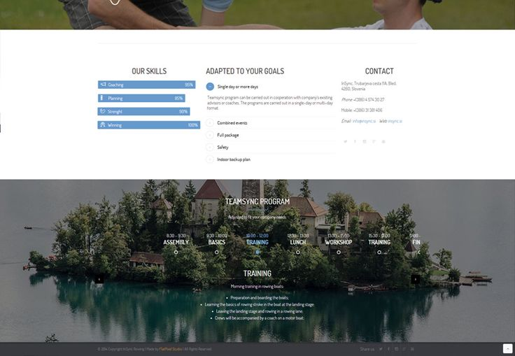 Our venture from just before new year, website for InSync Rowing, a teambuilding startup featuring olympian rowers from Bled, Slovenia. More on the project on http://flatpixel.si/insync.html