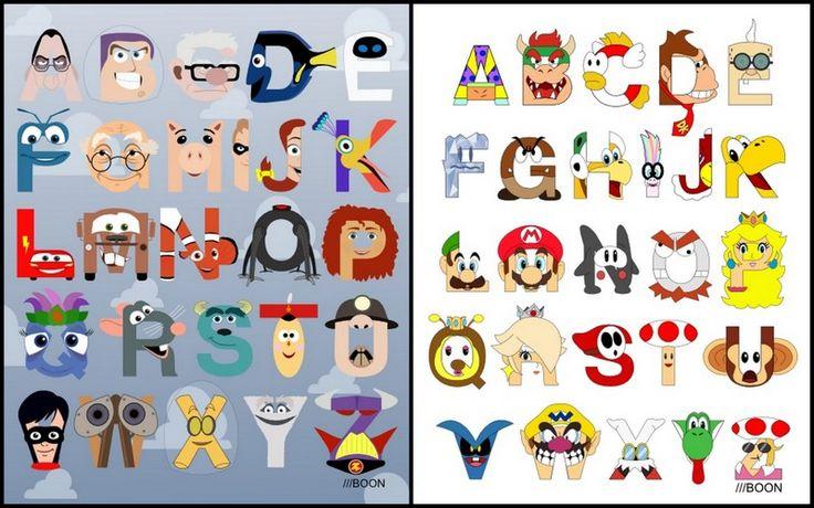 Pixar Alphabet and Super Mario Alphabet by Mike Boon