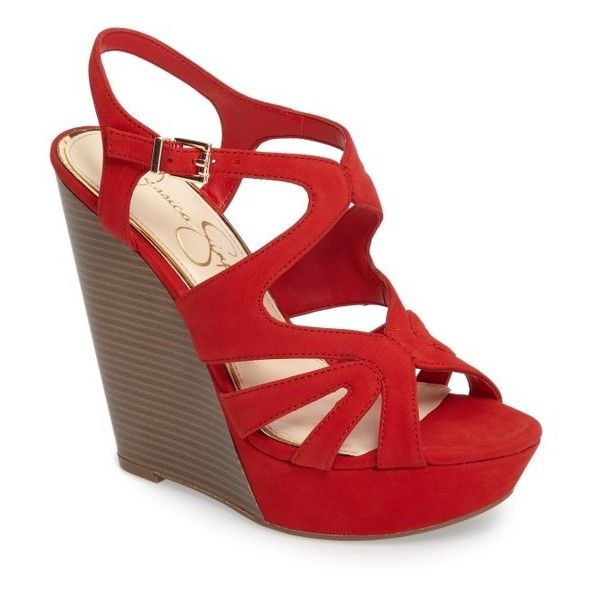 Women's Jessica Simpson Brissah Wedge ($89) ❤ liked on Polyvore featuring shoes, sandals, lipstick nubuck leather, strap sandals, strap wedge sandals, wedge heel sandals, nubuck leather shoes and wedges shoes