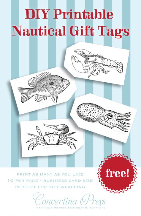 Free printable nautical gift tags with sea creatures - by Concertina Press - crab, fish, lobster and cuttlefish