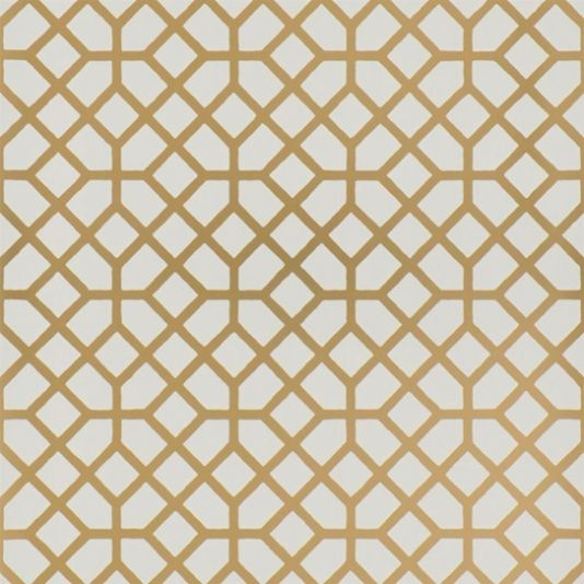 Pisani Wallpaper An abstract geometric contemporary trellis wallpaper in copper and white. Graphic and crisply drawn, available in a range of matt and metallic combinations.