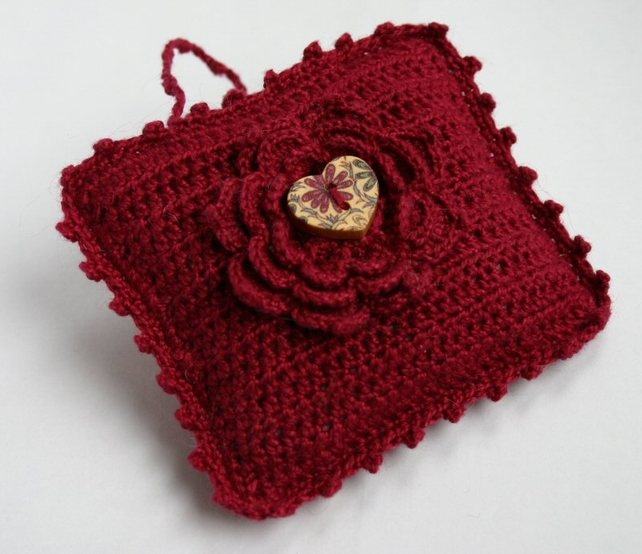 Red Crocheted Lavender Bag Sachet