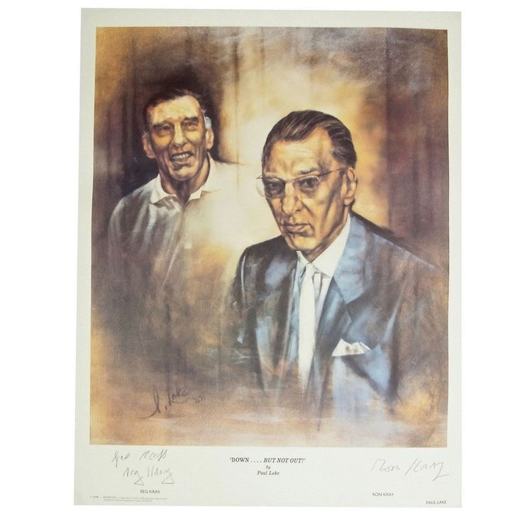 Limited edition Kray Twins signed portrait poster by Paul Lake. Limited edition Kray Twins signed portrait poster by Paul Lake. Entitled 'Down...But Not Out!' depicting The Kray Twins. Signed by both Reg Kray and Ron Kray in graphite pencil. From a limited edition run of 2000 prints copied from the original oil on canvas portrait by Paul Lake, dated 89'. 22.7 in (57.7 cm) x 17.4 in (44.1 cm)
