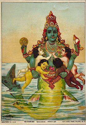 Vishnu Matsya Avatar, Vishnu's fish avatar.