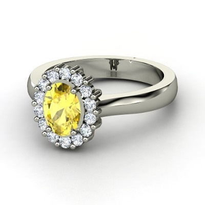 Oval Yellow Diamond, Platinum Band with Diamond Accent Stones.   *DREAM RING*