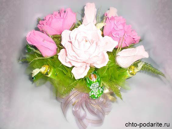 """Букет из конфет """"Розы в корзине"""" своими руками"""