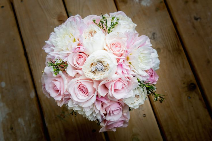 Wedding bands in the Bride's bouquet