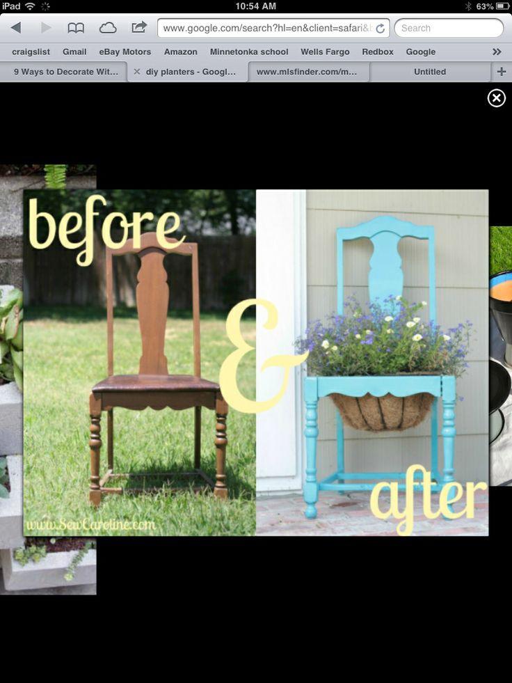 Vintage chair planting pot idea