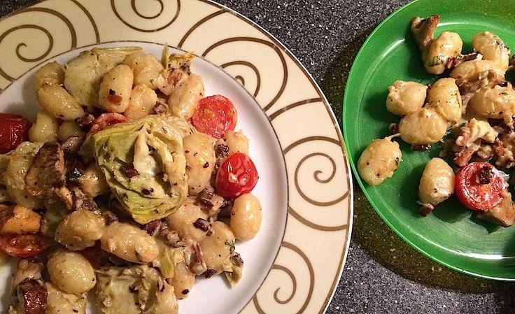 Gnocchi uit de oven met paddenstoelen en artisjok