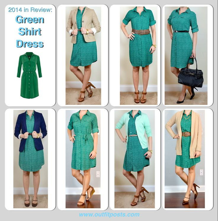 Outfit Posts: 2014 in review - green shirt dress - 7 ways