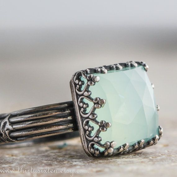 Cocktail Ring with Aqua Chalcedony and Sterling by ThirtySixTen >> Exquisite!