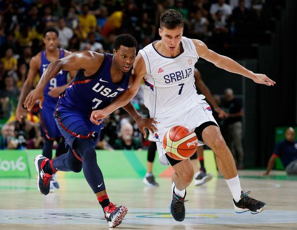 Bogdan Bogdanovic Photos Photos - Kyle Lowry #7 of United States steals the ball from Bogdan Bogdanovic #7 of Serbia during the Men's Gold medal game on Day 16 of the Rio 2016 Olympic Games at Carioca Arena 1 on August 21, 2016 in Rio de Janeiro, Brazil. - Basketball - Olympics: Day 16