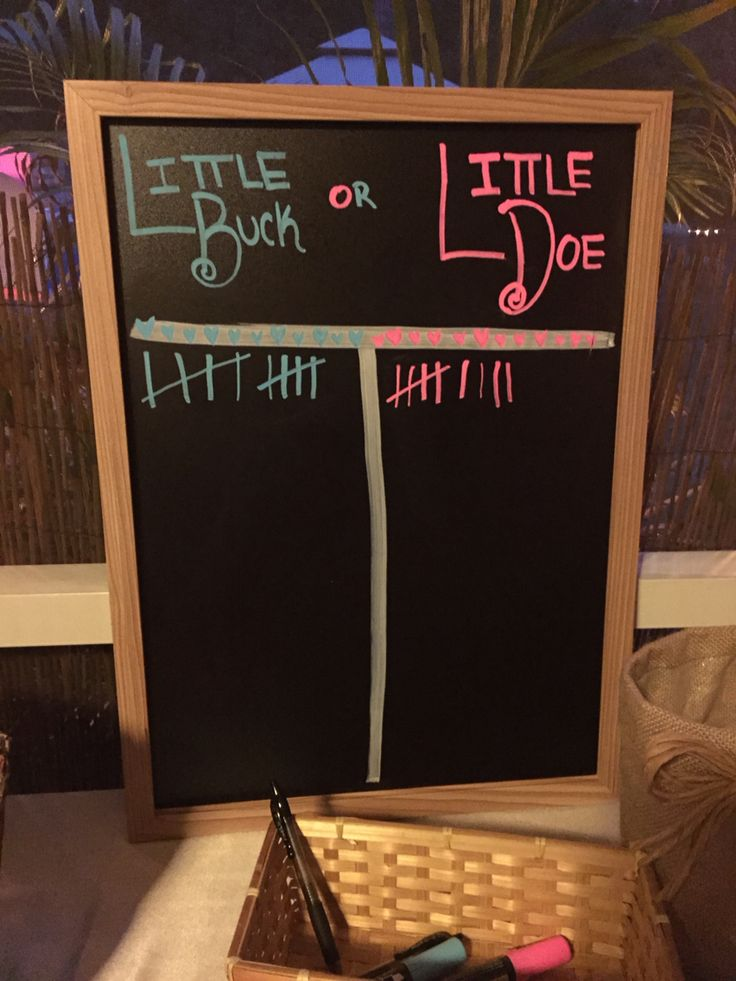 Little buck or little doe chart! Super easy and cost 5$ for the board at hobby lobby! Gender reveal party!! Country themed Florida. Baby skipper November 8th 2014. Deployment pregnancy milso strength. Week 18 preganancy chalkboard