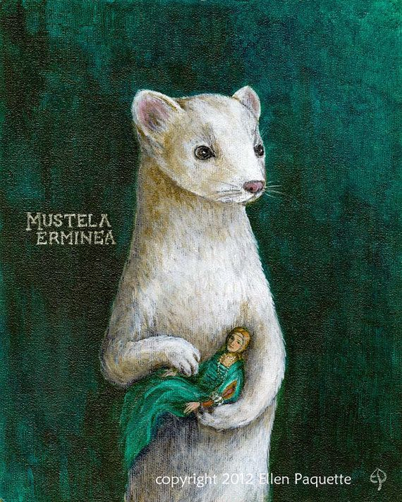 "Ermine With A Lady Portrait fine art print by EllenPaquetteArt, $30.00 - The limited edition, archival signed print is titled ""Ermine With A Lady"". It was inspired by Leonardo daVinci's enchanting ""Lady With An Ermine."""