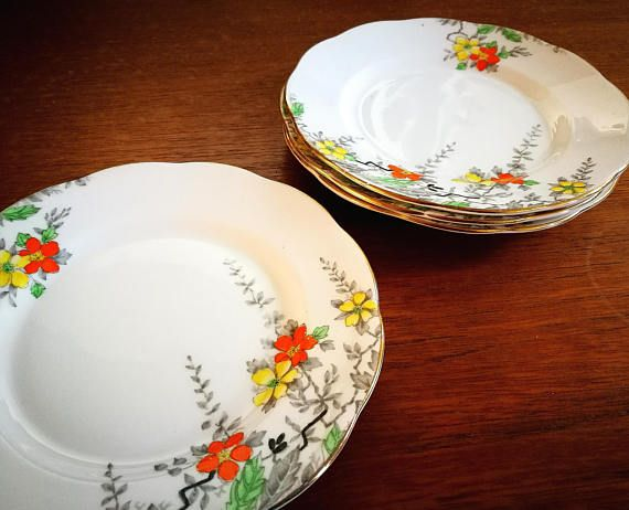 Art Deco china tea plates, Set of 4 1930's hand painted side plates, Vintage bone china, Antique china, Salisbury Blossom Time pattern,