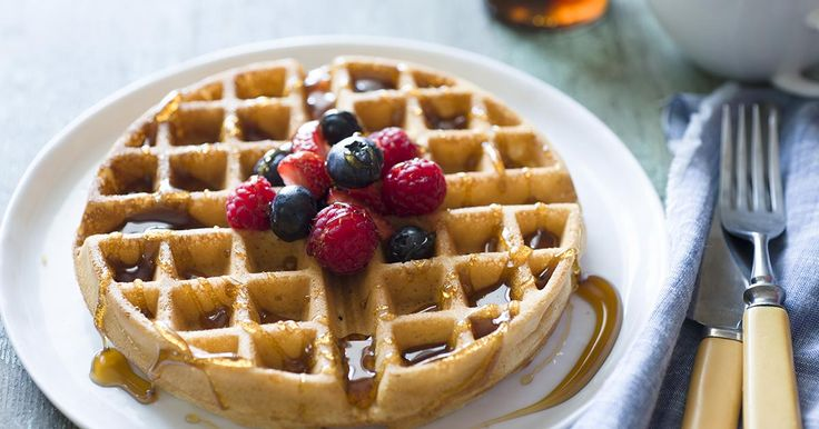 Light, crisp waffles made from 100% whole wheat flour.