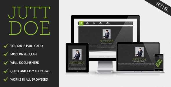 Jutt Doe VCard   http://themeforest.net/item/jutt-doe-vcard/3292263?ref=damiamio       PSD Files Included  Jutt Doe VCard is a clean HTML /CSS. This template is easy to modify with quality and commented code. VCard perfect for creative individuals.  Please rate my design so that I can further improve my upcoming themes Main Features   Cross-Browser Compatibility  Clean & Commented code   Quick and Easy to Install  Detailed Documentation  Modern look  Included PSD Files  We are here to help…