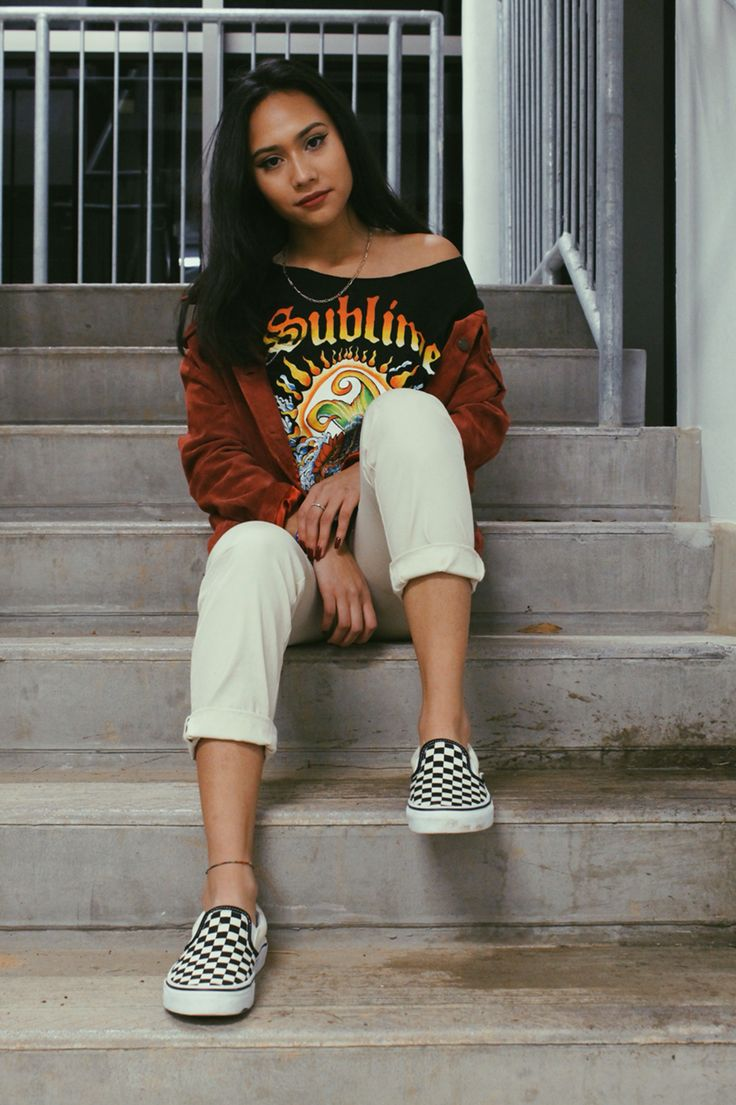 sublime, checkered vans outfit