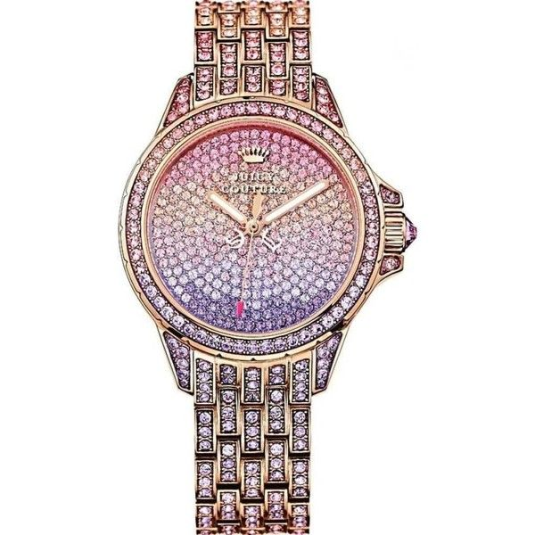 Juicy Couture 1901167 Ladies' Stella Rose Gold Stone Set Watch With... ($380) ❤ liked on Polyvore featuring jewelry, watches, rose gold wrist watch, tri color jewelry, pink gold watches, rose gold jewelry and rose gold tone watches
