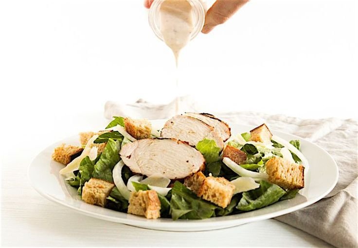 Healthy Chicken Caesar Salad With Homemade Creamy Caesar Dressing