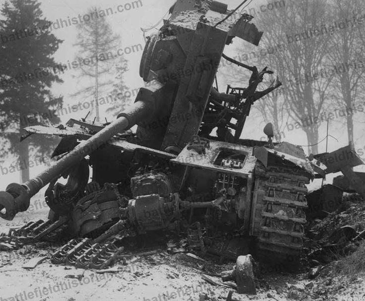 German Tiger Tank Knocked Out Near Bastogne Ardennes