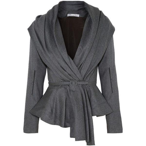 Oscar de la Renta Skyline belted wool-blend jacket ($1,235) ❤ liked on Polyvore featuring outerwear, jackets, coats, tops, coats & jackets, dark gray, wool-blend jacket, button jacket, shawl collar jacket and belted jacket