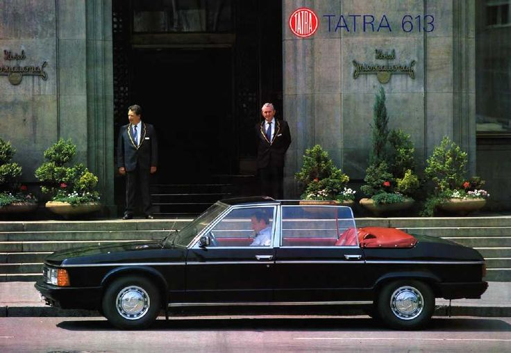 """Here the famous Czechoslovak government car """"Tatra 613"""" in the very unique convertible version in front of the hotel in 1980s."""