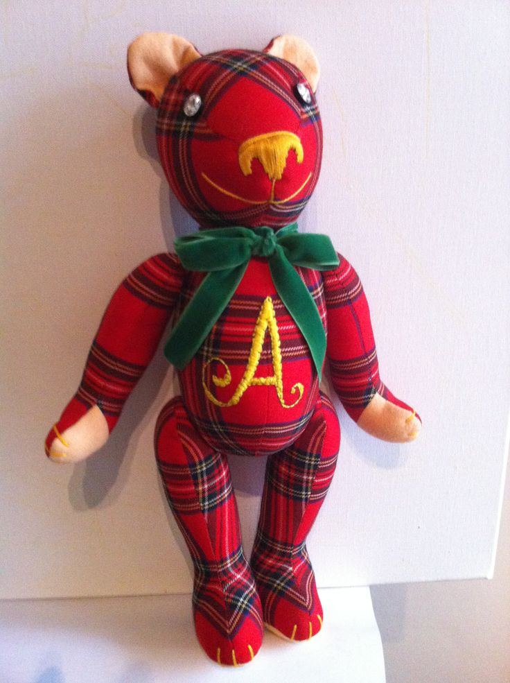 Scottish style Teddy bear with an initial embroidered in his belly. Cute! By GSBears, Barcelona