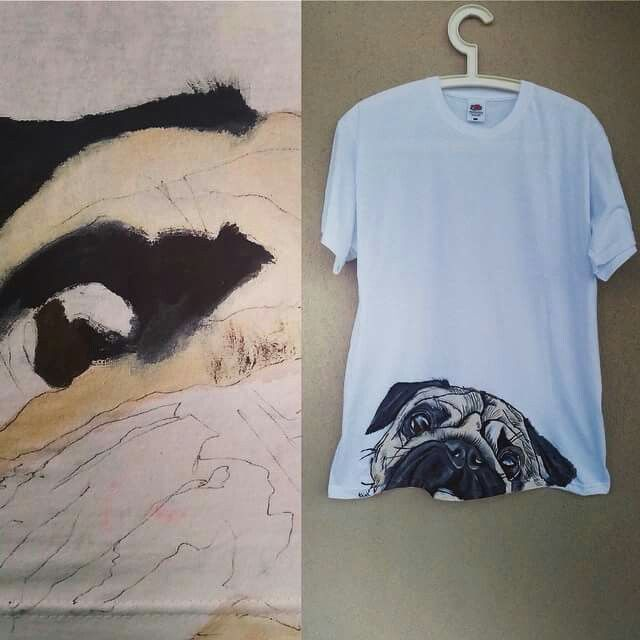 Handpainted pug illustration on white t-shirt.