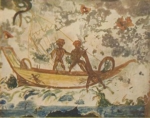 Arte Paleocristiano (S. I -VI) - Jonas y la Ballena. Catacumba de Priscila.