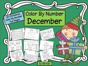 Color By Number Code Pages are fun for morning work. These pages are used to learn colors and/or numbers. There is enough designs for 20 days of December.  The kids will love them! 20 pages By BB Kidz