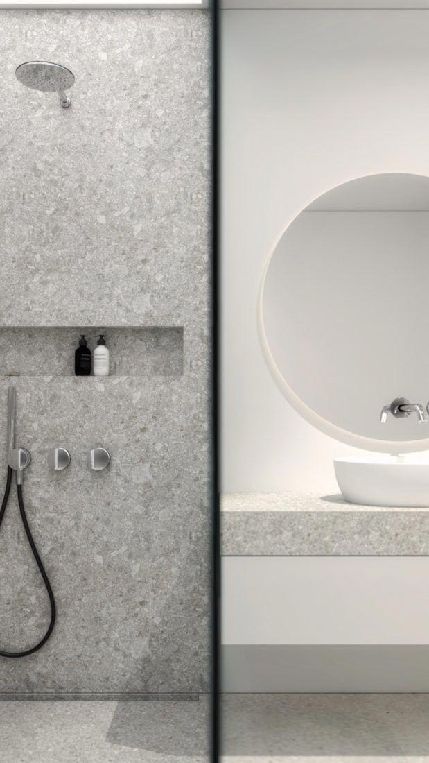 Modernes Und Offenes Designer Badezimmer Mit Begehbarer Dusche Interior Design Einer Hochwertig Modern Bathroom Design Bathroom Design Quality Interior Design