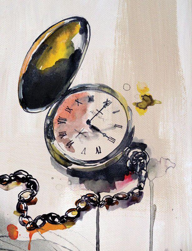 #barbaravontannenberg #newdivision #illustration #watercolour #gouache #textured #pocketwatch #watch #decorative