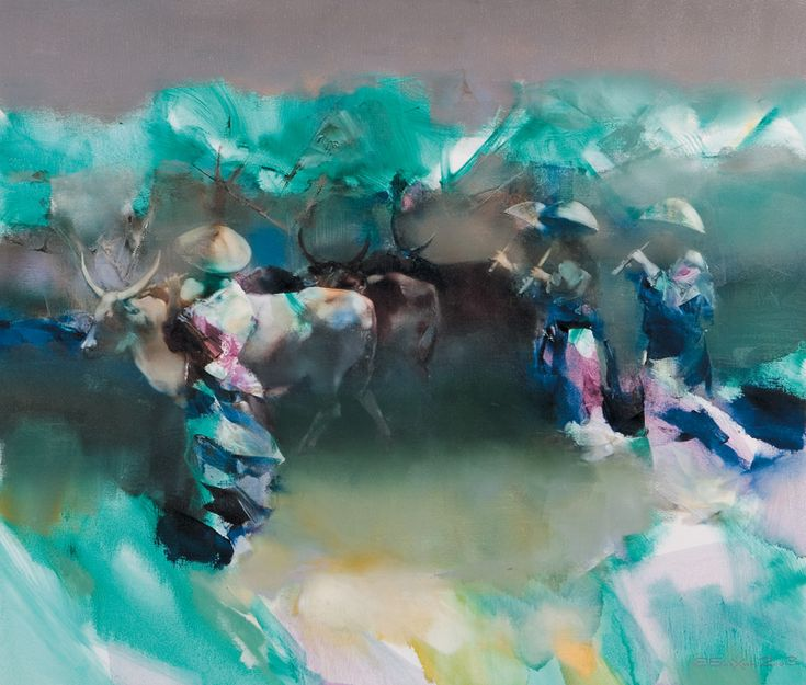 "The time of sakura blossoms "" - Valery Blokhin, oil on canvas"