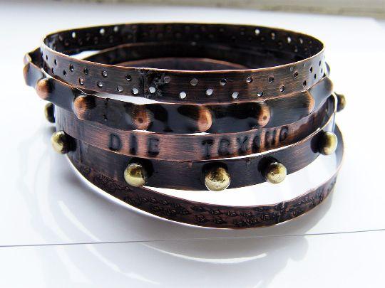 Bracelets – Autumn. set of copper bracelets – a unique product by LydiaRED on DaWanda