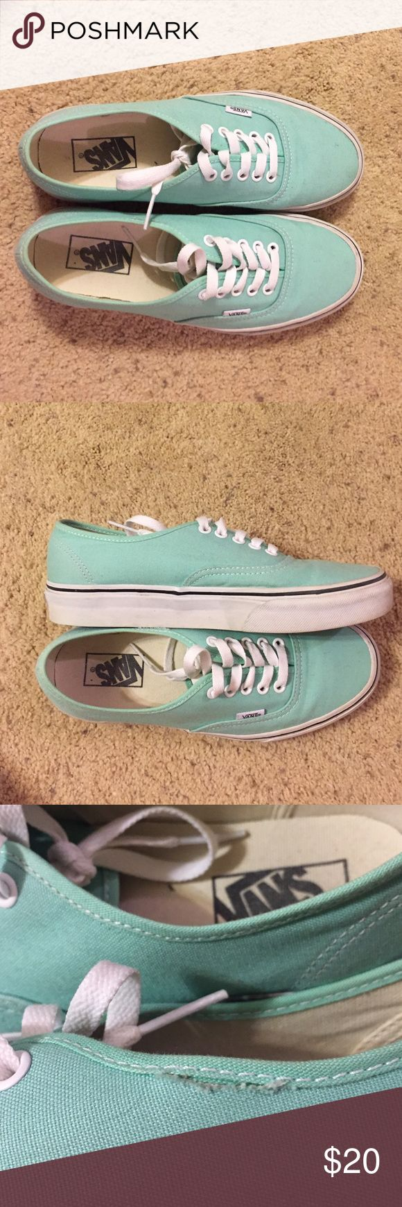 Mint green Vans Mint green Vans, worn ONCE, clean, only one small fault (which is pictured)! great condition! :) Vans Shoes Sneakers