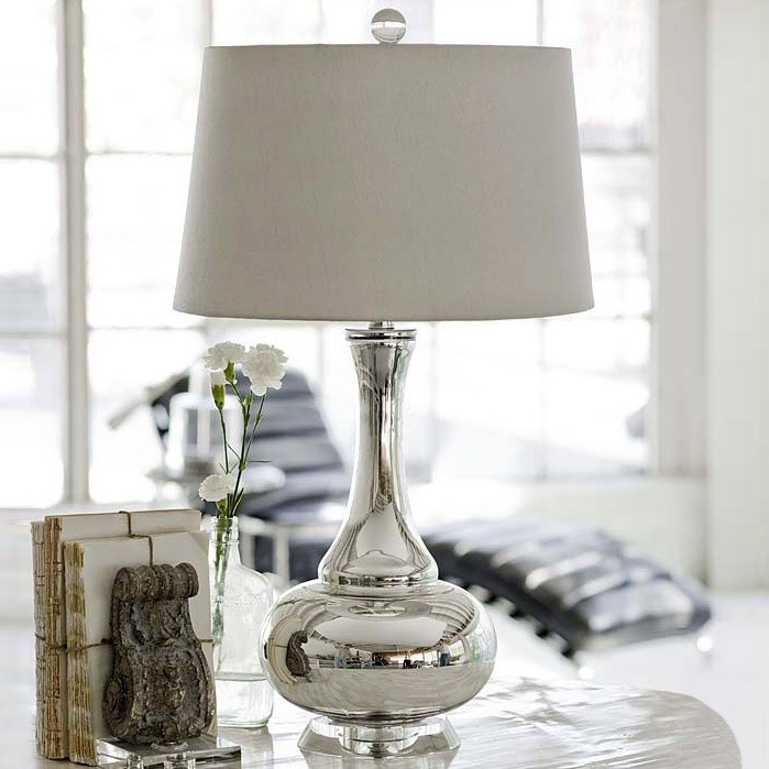 Regina Andrew Mercury Glass Gourd Lamp  from @Zinc_door #zincdoor #fanfave #bookcase