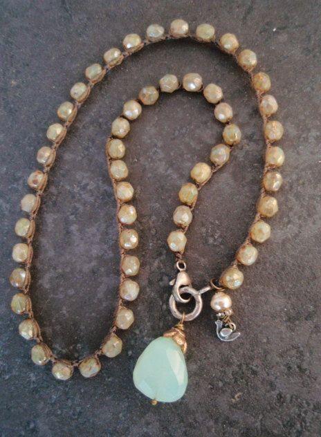 Cottage chic crochet necklace Summer Glow blue by slashKnots, $92.00