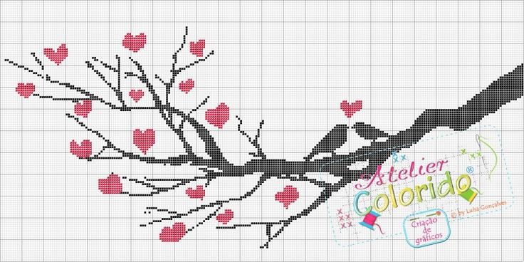 free love birds tree branch cross stitch pattern  http://ateliercoloridopx.blogspot.it/2012/01/passaros-apaixonados-no-ramo.html