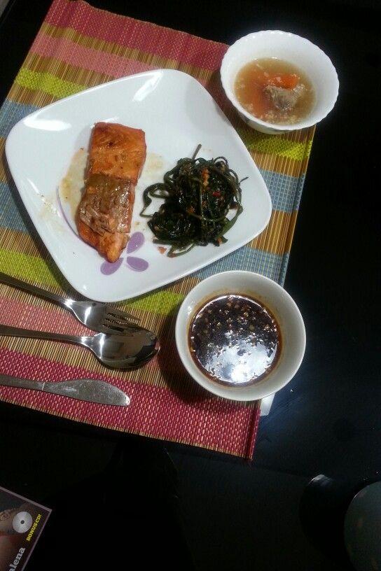 Grilled Salmon, Kangkung Sambal Ebi & Pork Soup