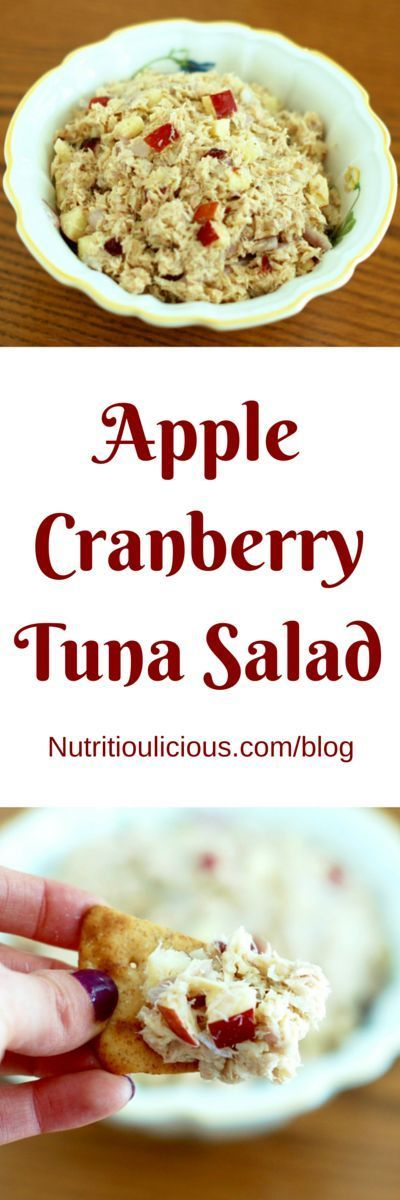 Apple Cranberry Tuna Salad   Upgrade your classic tuna salad with crunchy apples and a touch of sweetness from dried cranberries for a high-protein, omega-3-rich lunch. Get the gluten-free and dairy-free recipe @jlevinsonrd.