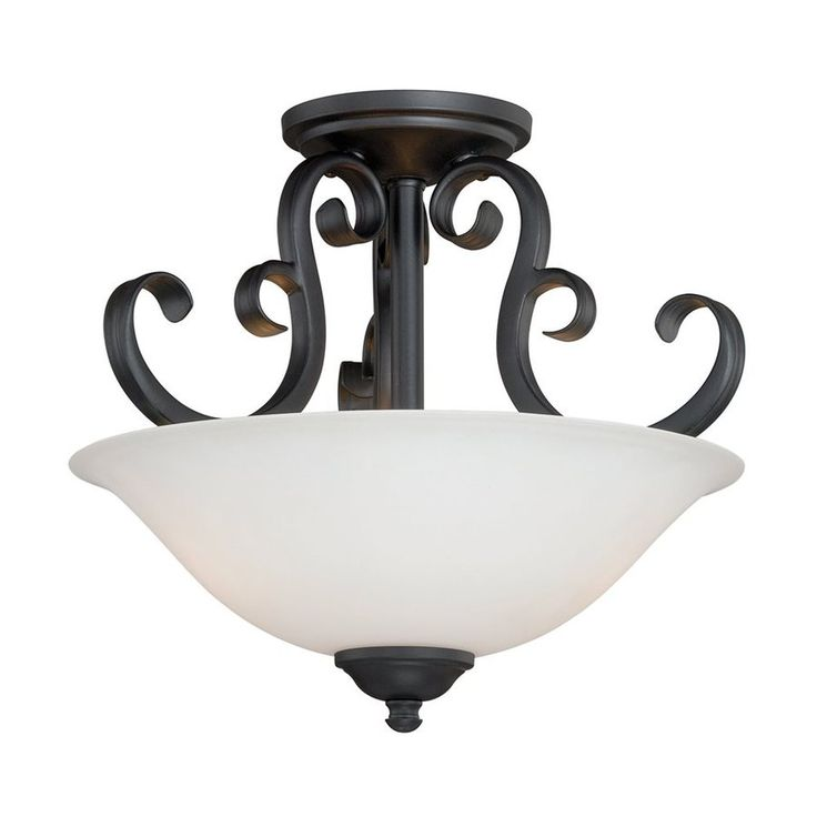 Cascadia Lighting Belleville 14 In W Oil Rubbed Bronze Frosted Glass Semi Flush Mount