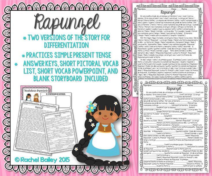 Present Tense Story Worksheet Rapunzel My Tpt Store