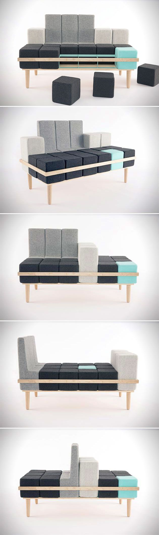 This completely modular couch was inspired by one of our favorite childhood video games, Tetris. The soft maple and steel frame allows the 18 foam cushions to be set up in a number of different configurations, limited only by your imagination.