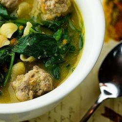 Italian wedding soup with baby spinach, pasta and tiny meatballs -- the perfect comfort food!